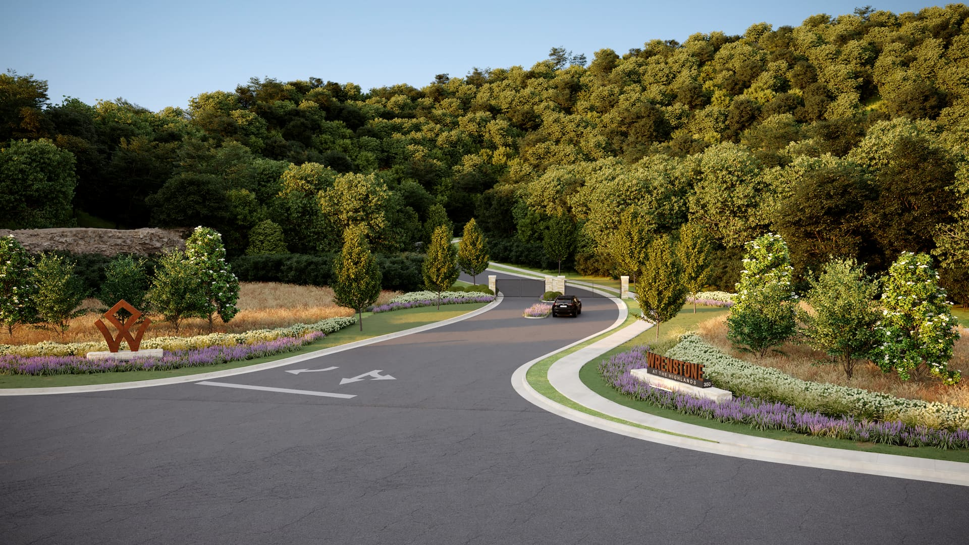 Rendering of Wrenstone Gated Entry and Driveway